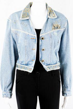 Jeansjacke mit Verzierungen -38-