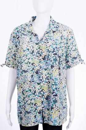 Vintage Kurzarm Bluse - Flower Blues
