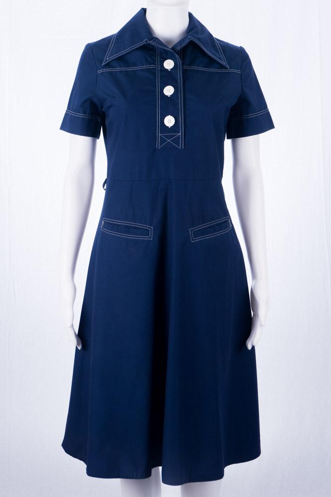 Vintage Kleid 36 S Blau 60er Jahre Mode Twiggy Stil 70s