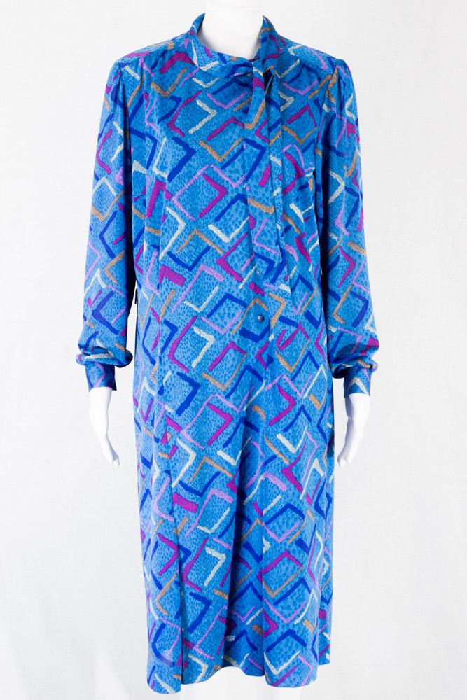 60er Jahre Designer Kleid M 42 Blau Mit Art Print Zierschleife Gurtelschlaufen Vintage Online Shop Fur Damen Und Herren I Vintage Schuhe Stiefel Vintage Mode Online Kaufen