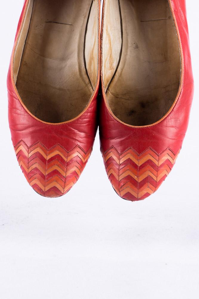 Vintage Juppen Schuhe 38 Leder rot Ballerinas 90er Jahre