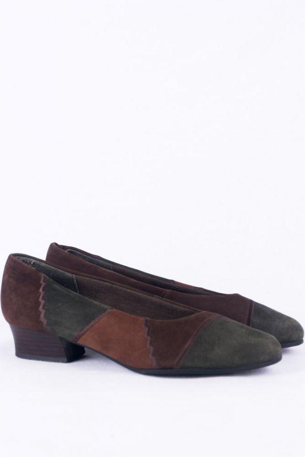 Details zu Vintage Wildleder Schuhe 38 Suede Pumps 80s leather shoes Boho Hipster granny
